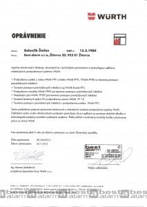 Oprávnenie na realizáciu požiarnych prestupov WURTH