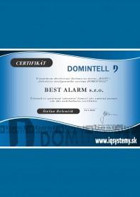 Certifikát Domintel Inteligentné inštalácie