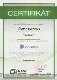 Certifikát zabezpečovací systém Videofied RSI